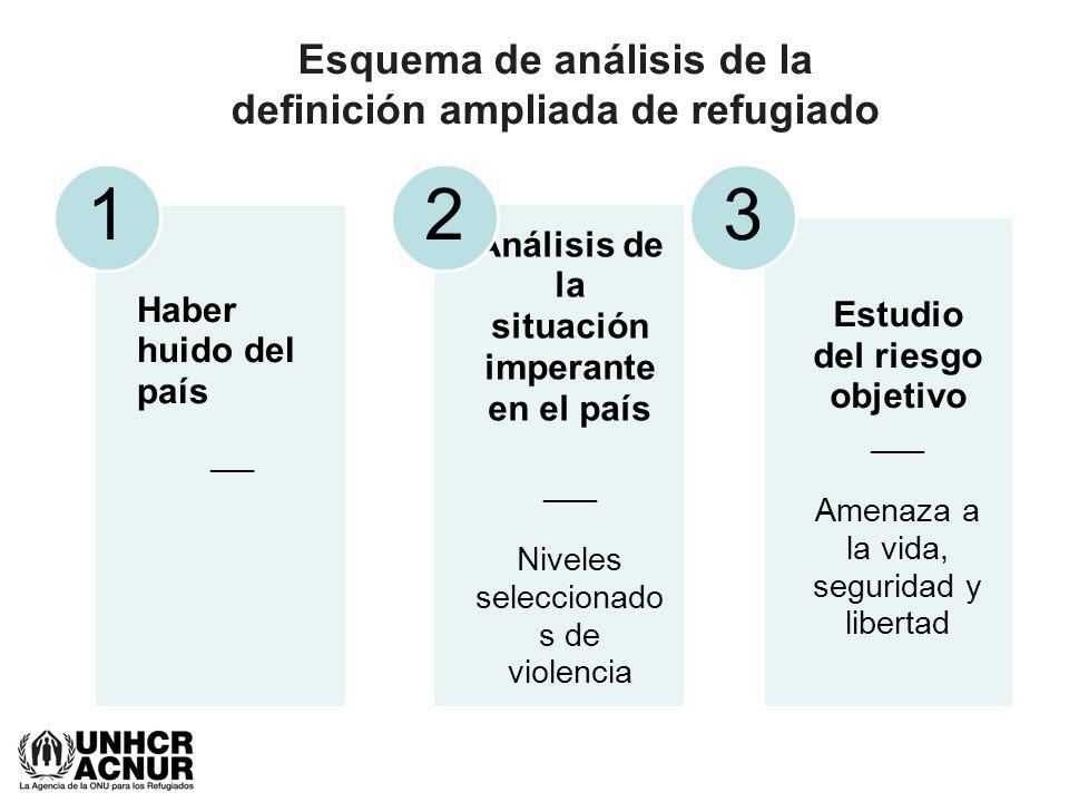 Esquema de análisis de la definición ampliada de refugiado Haber huido del país ___ 1 Análisis de la situación imperante en el país ___ Niveles selecc