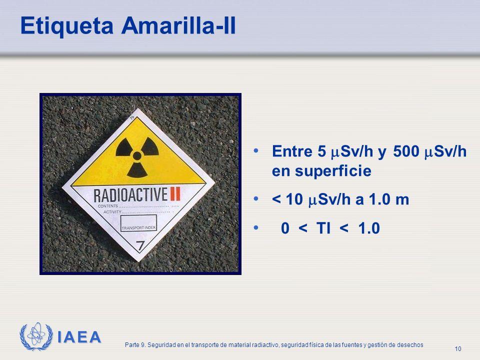 IAEA Parte 9. Seguridad en el transporte de material radiactivo, seguridad física de las fuentes y gestión de desechos 10 Etiqueta Amarilla-II Entre 5