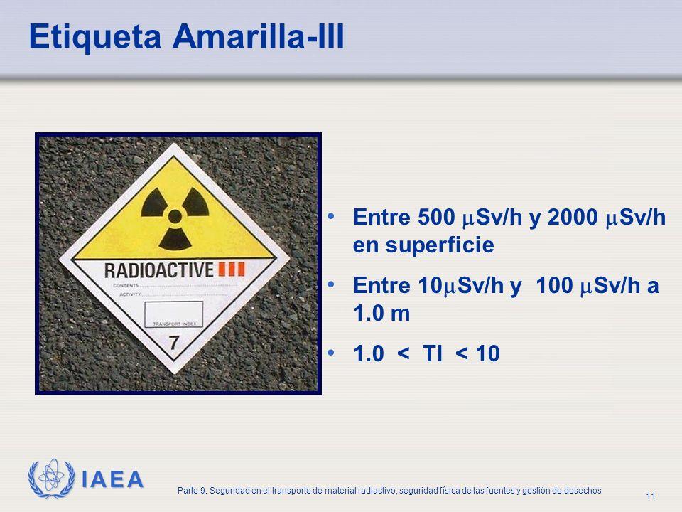 IAEA Parte 9. Seguridad en el transporte de material radiactivo, seguridad física de las fuentes y gestión de desechos 11 Etiqueta Amarilla-III Entre