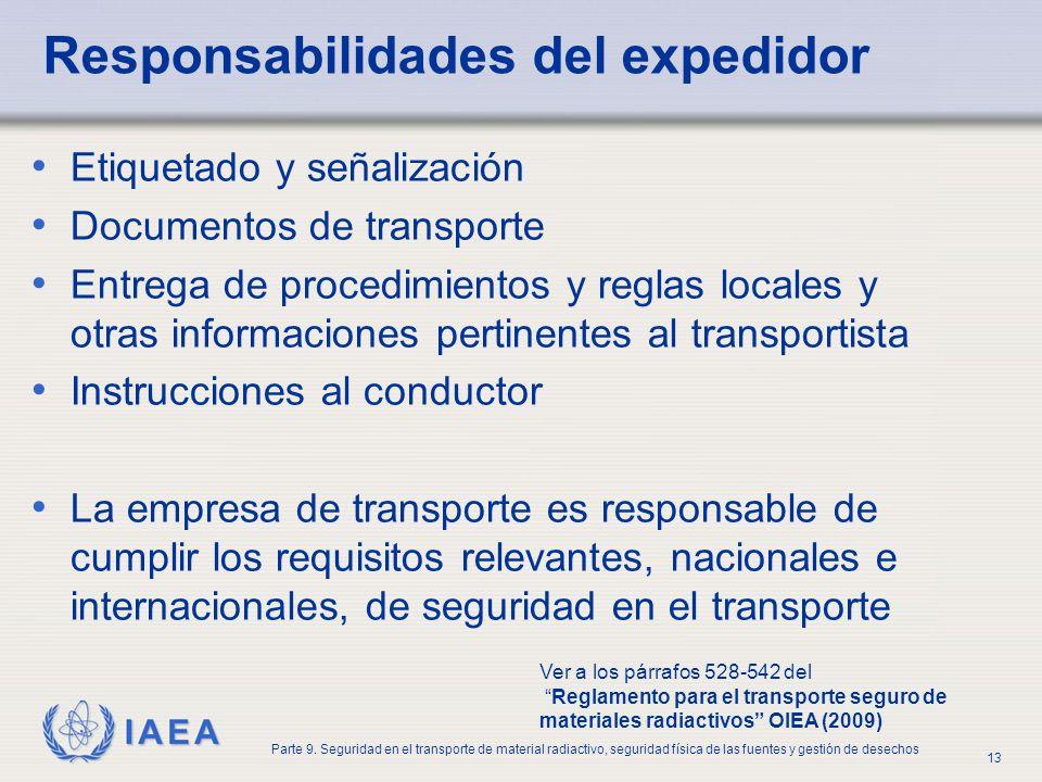 IAEA Parte 9. Seguridad en el transporte de material radiactivo, seguridad física de las fuentes y gestión de desechos 13 Responsabilidades del expedi