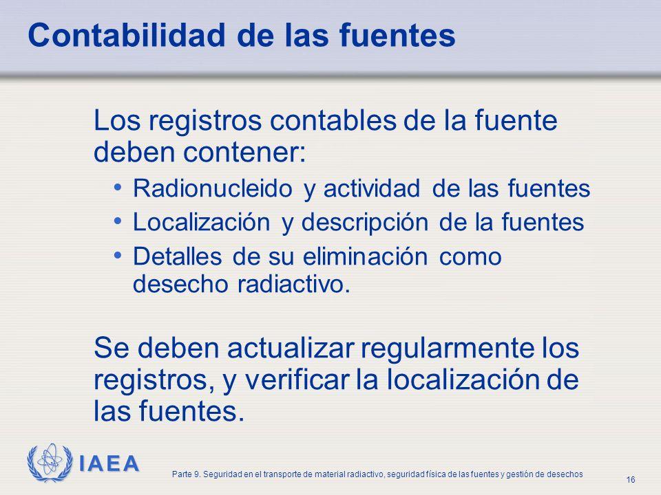 IAEA Parte 9. Seguridad en el transporte de material radiactivo, seguridad física de las fuentes y gestión de desechos 16 Contabilidad de las fuentes