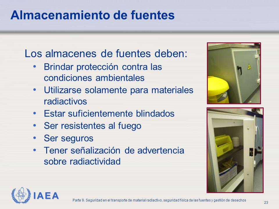 IAEA Parte 9. Seguridad en el transporte de material radiactivo, seguridad física de las fuentes y gestión de desechos 23 Almacenamiento de fuentes Lo