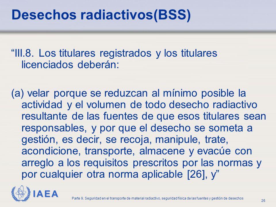 IAEA Parte 9. Seguridad en el transporte de material radiactivo, seguridad física de las fuentes y gestión de desechos 26 Desechos radiactivos(BSS) II