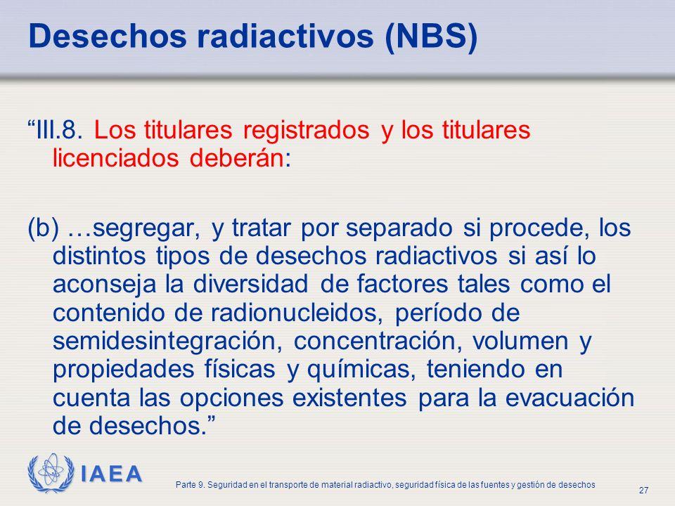 IAEA Parte 9. Seguridad en el transporte de material radiactivo, seguridad física de las fuentes y gestión de desechos 27 Desechos radiactivos (NBS) I