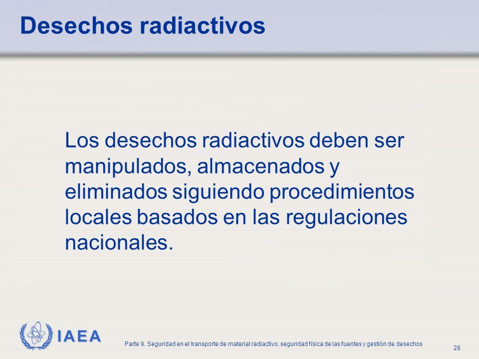 IAEA Parte 9. Seguridad en el transporte de material radiactivo, seguridad física de las fuentes y gestión de desechos 28 Desechos radiactivos Los des