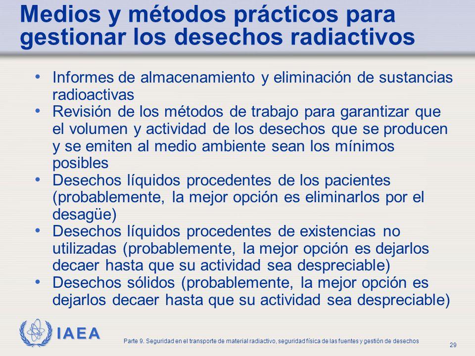 IAEA Parte 9. Seguridad en el transporte de material radiactivo, seguridad física de las fuentes y gestión de desechos 29 Medios y métodos prácticos p