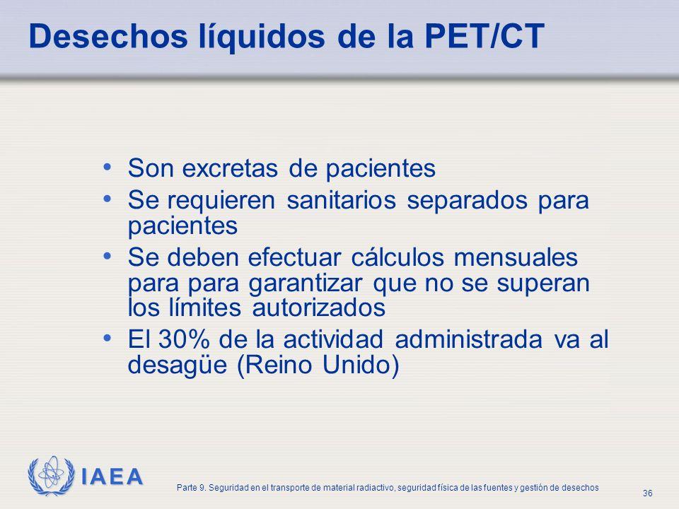 IAEA Parte 9. Seguridad en el transporte de material radiactivo, seguridad física de las fuentes y gestión de desechos 36 Desechos líquidos de la PET/