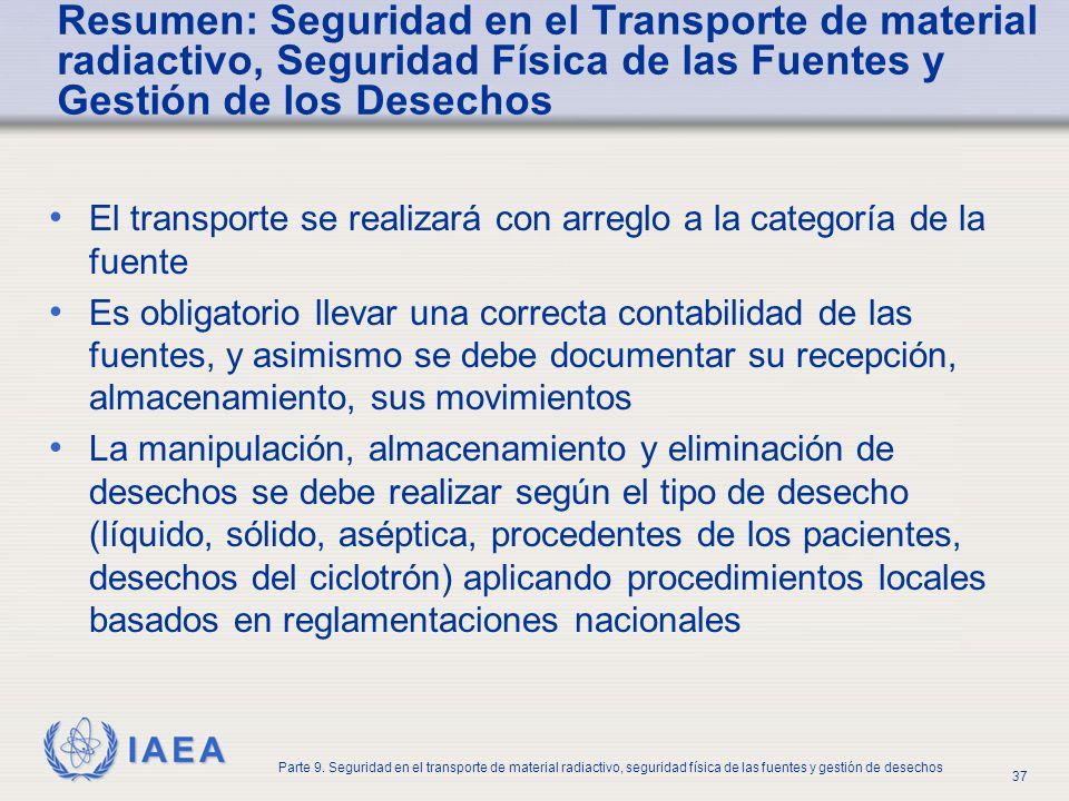 IAEA Parte 9. Seguridad en el transporte de material radiactivo, seguridad física de las fuentes y gestión de desechos 37 Resumen: Seguridad en el Tra