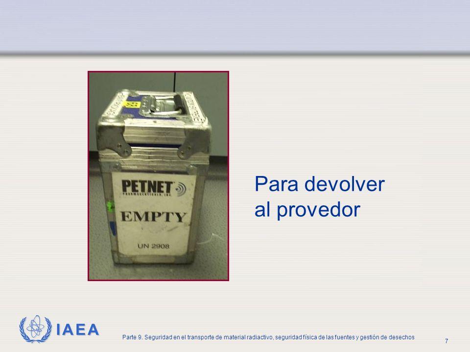 IAEA Parte 9. Seguridad en el transporte de material radiactivo, seguridad física de las fuentes y gestión de desechos 7 Para devolver al provedor