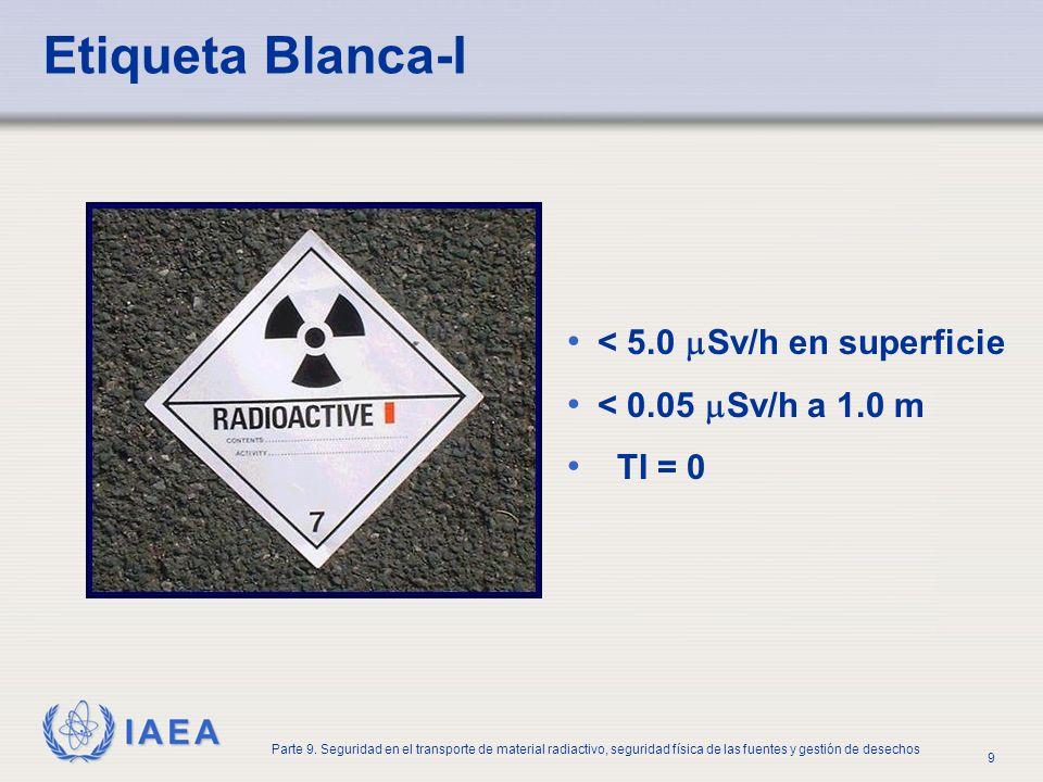 IAEA Parte 9. Seguridad en el transporte de material radiactivo, seguridad física de las fuentes y gestión de desechos 9 Etiqueta Blanca-I < 5.0 Sv/h