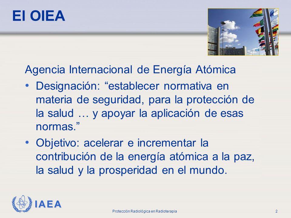 IAEA Protección Radiológica en Radioterapia2 El OIEA Agencia Internacional de Energía Atómica Designación: establecer normativa en materia de segurida