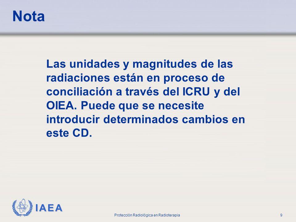 IAEA Protección Radiológica en Radioterapia9 Nota Las unidades y magnitudes de las radiaciones están en proceso de conciliación a través del ICRU y de