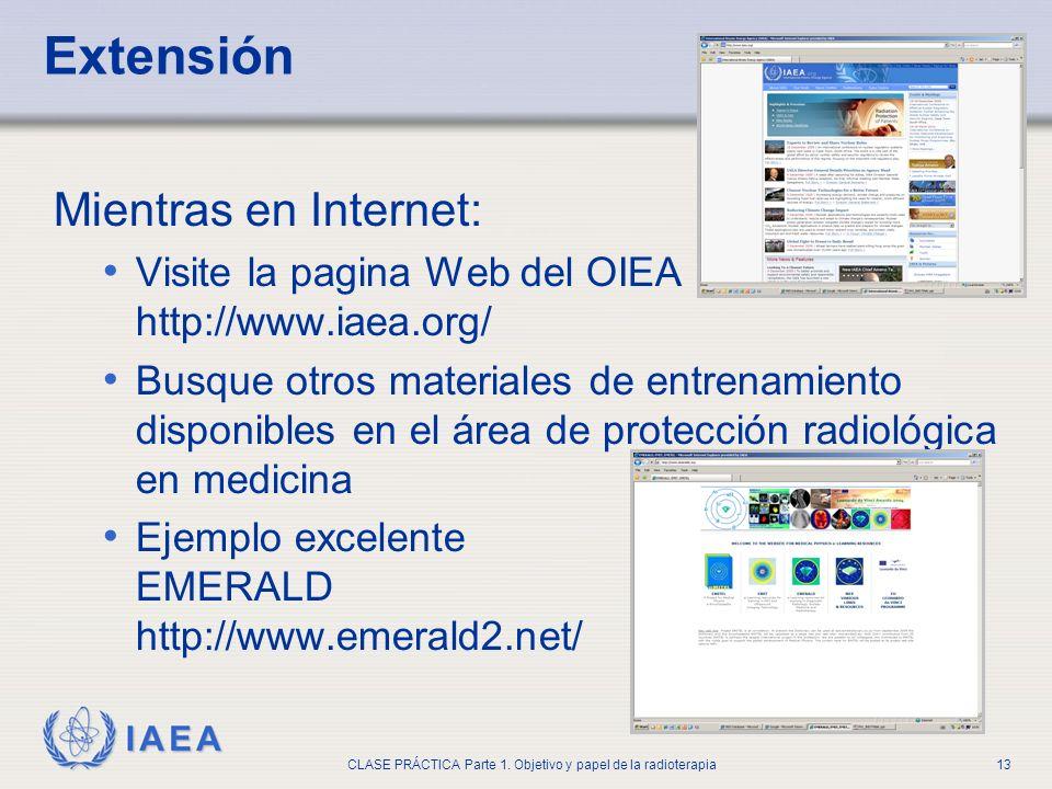 IAEA CLASE PRÁCTICA Parte 1. Objetivo y papel de la radioterapia13 Extensión Mientras en Internet: Visite la pagina Web del OIEA http://www.iaea.org/