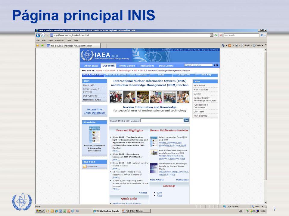 IAEA CLASE PRÁCTICA Parte 1. Objetivo y papel de la radioterapia7 Página principal INIS