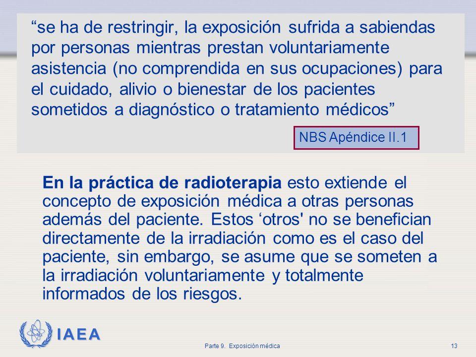 IAEA Parte 9. Exposición médica13 se ha de restringir, la exposición sufrida a sabiendas por personas mientras prestan voluntariamente asistencia (no