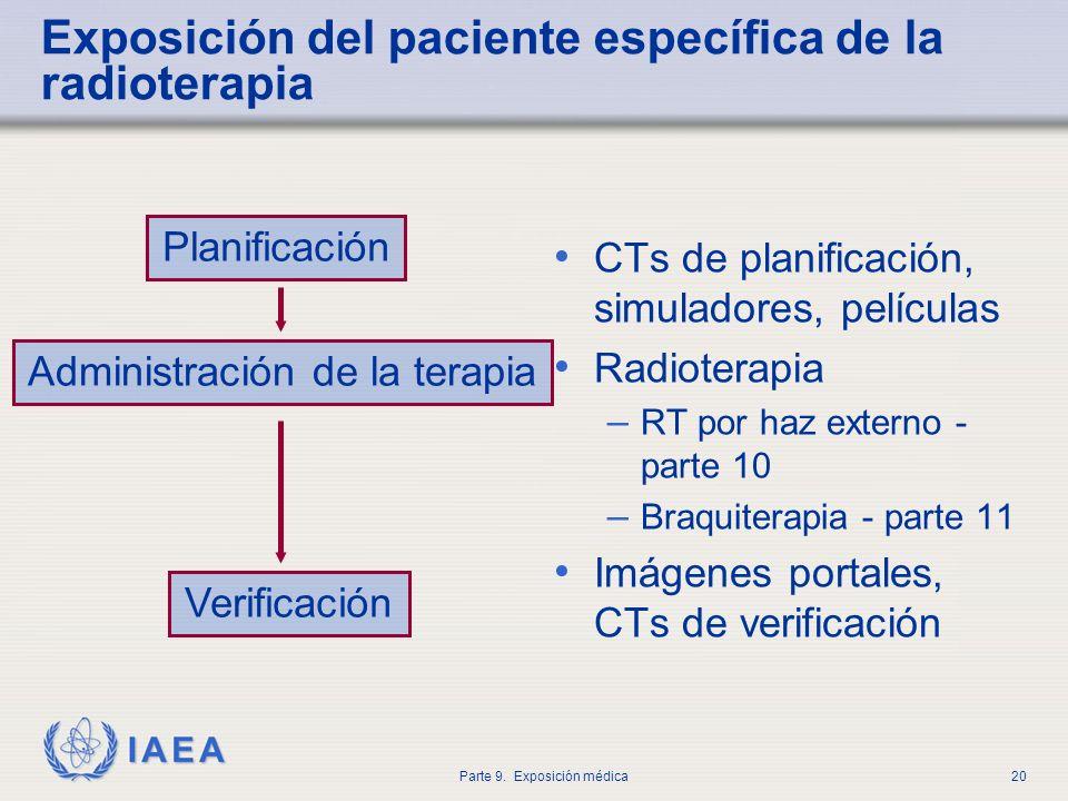 IAEA Parte 9. Exposición médica20 Exposición del paciente específica de la radioterapia CTs de planificación, simuladores, películas Radioterapia – RT