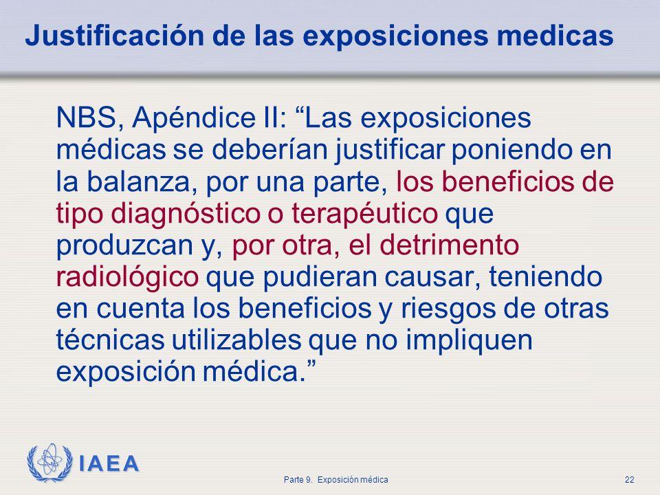 IAEA Parte 9. Exposición médica22 Justificación de las exposiciones medicas NBS, Apéndice II: Las exposiciones médicas se deberían justificar poniendo