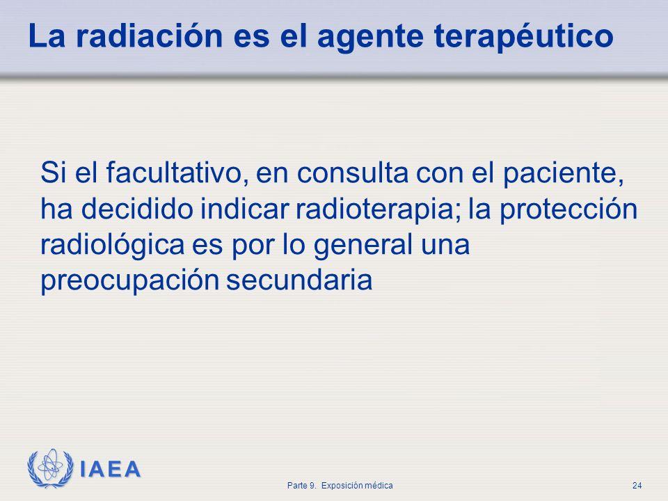 IAEA Parte 9. Exposición médica24 La radiación es el agente terapéutico Si el facultativo, en consulta con el paciente, ha decidido indicar radioterap