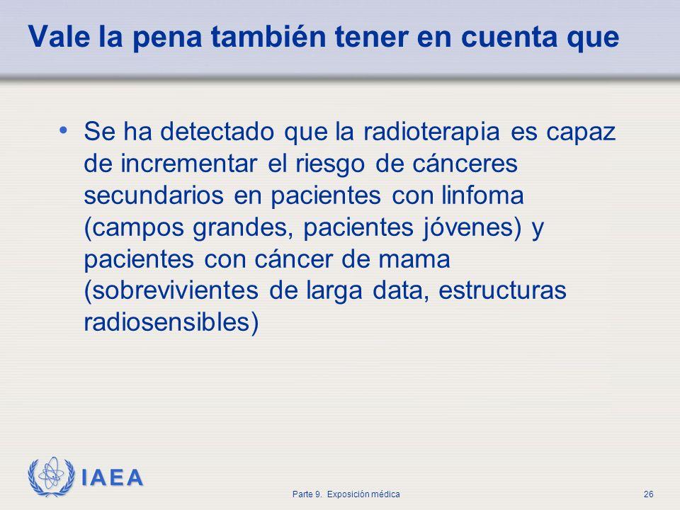 IAEA Parte 9. Exposición médica26 Vale la pena también tener en cuenta que Se ha detectado que la radioterapia es capaz de incrementar el riesgo de cá