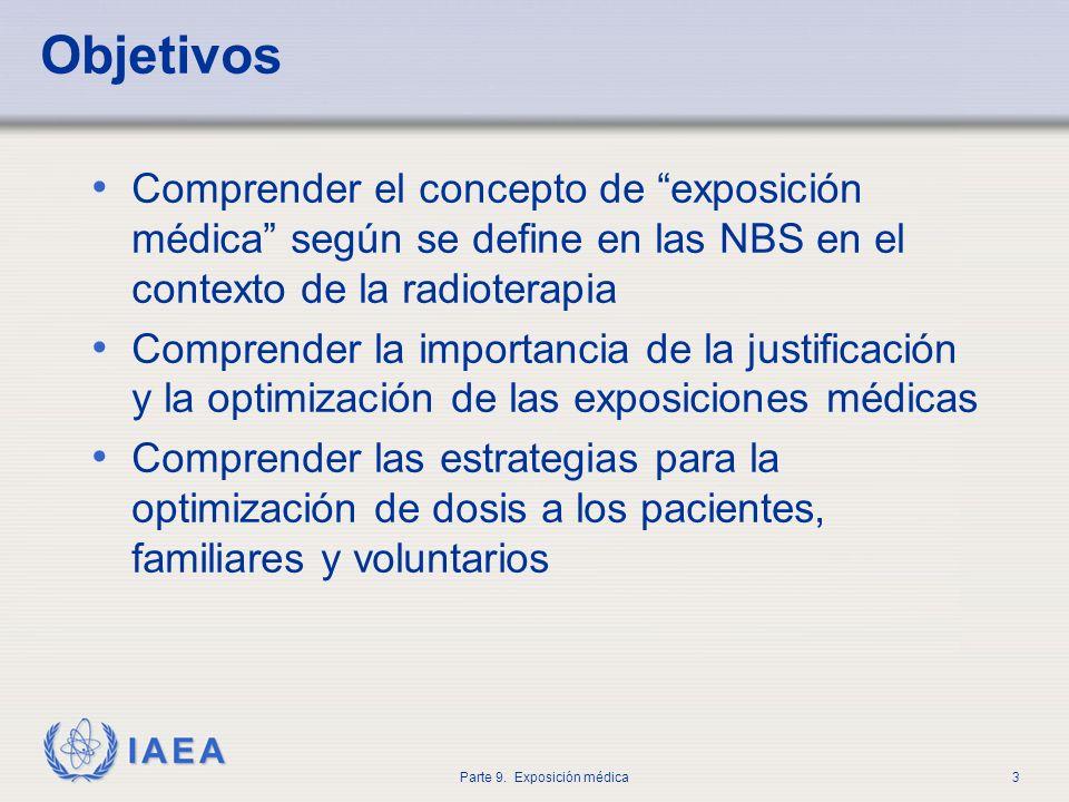IAEA Parte 9. Exposición médica3 Objetivos Comprender el concepto de exposición médica según se define en las NBS en el contexto de la radioterapia Co