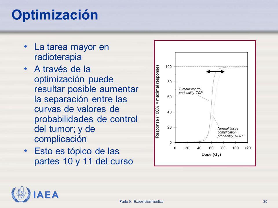 IAEA Parte 9. Exposición médica30 Optimización La tarea mayor en radioterapia A través de la optimización puede resultar posible aumentar la separació