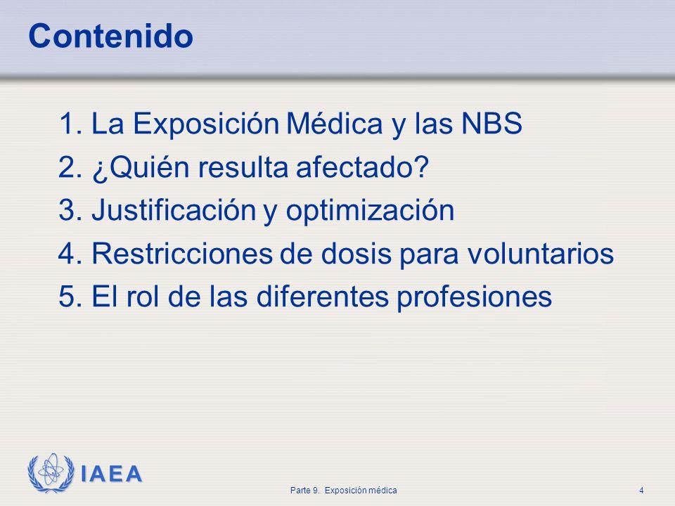 IAEA Parte 9. Exposición médica4 Contenido 1. La Exposición Médica y las NBS 2. ¿Quién resulta afectado? 3. Justificación y optimización 4. Restriccio