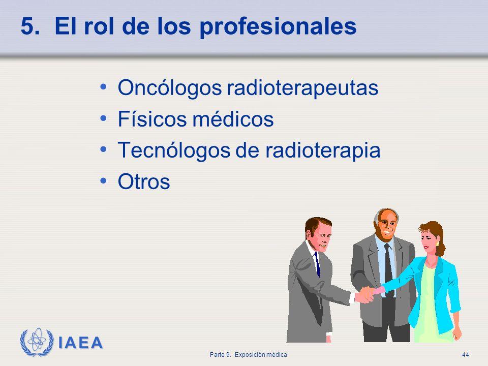 IAEA Parte 9. Exposición médica44 5. El rol de los profesionales Oncólogos radioterapeutas Físicos médicos Tecnólogos de radioterapia Otros