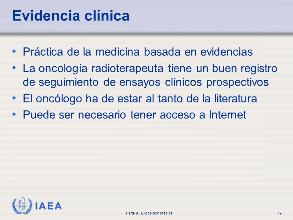 IAEA Parte 9. Exposición médica49 Evidencia clínica Práctica de la medicina basada en evidencias La oncología radioterapeuta tiene un buen registro de