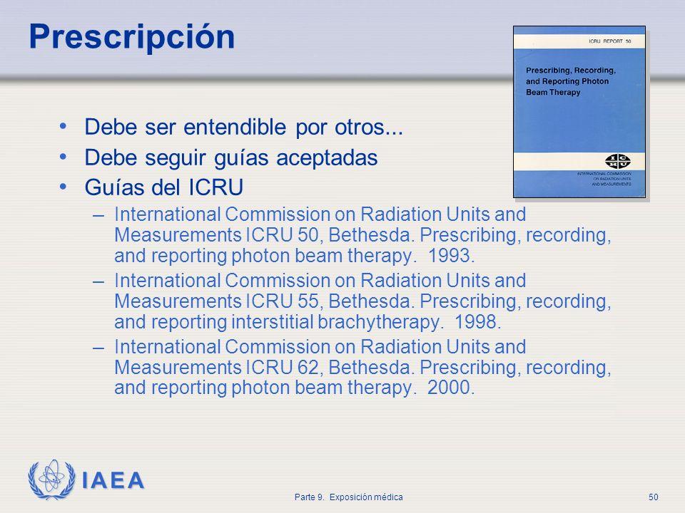 IAEA Parte 9. Exposición médica50 Prescripción Debe ser entendible por otros... Debe seguir guías aceptadas Guías del ICRU – International Commission