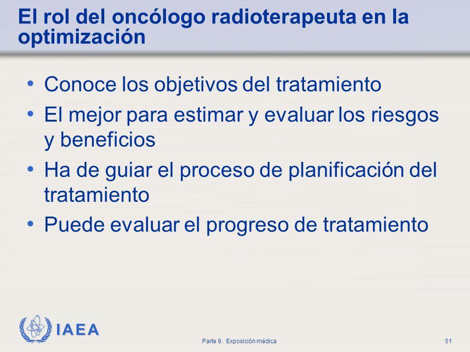 IAEA Parte 9. Exposición médica51 El rol del oncólogo radioterapeuta en la optimización Conoce los objetivos del tratamiento El mejor para estimar y e