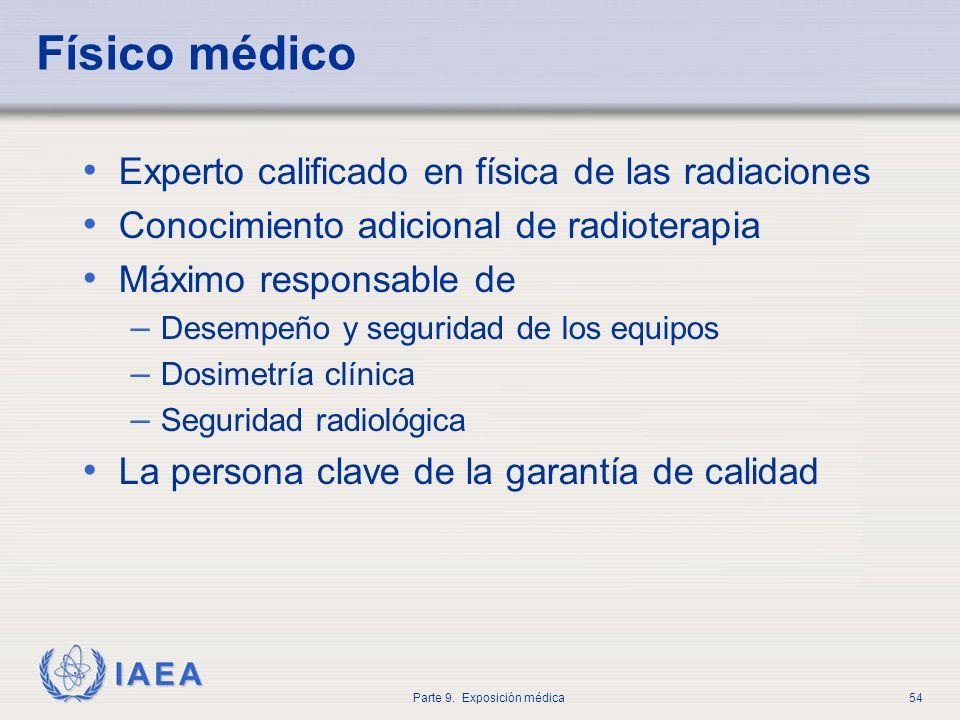 IAEA Parte 9. Exposición médica54 Físico médico Experto calificado en física de las radiaciones Conocimiento adicional de radioterapia Máximo responsa