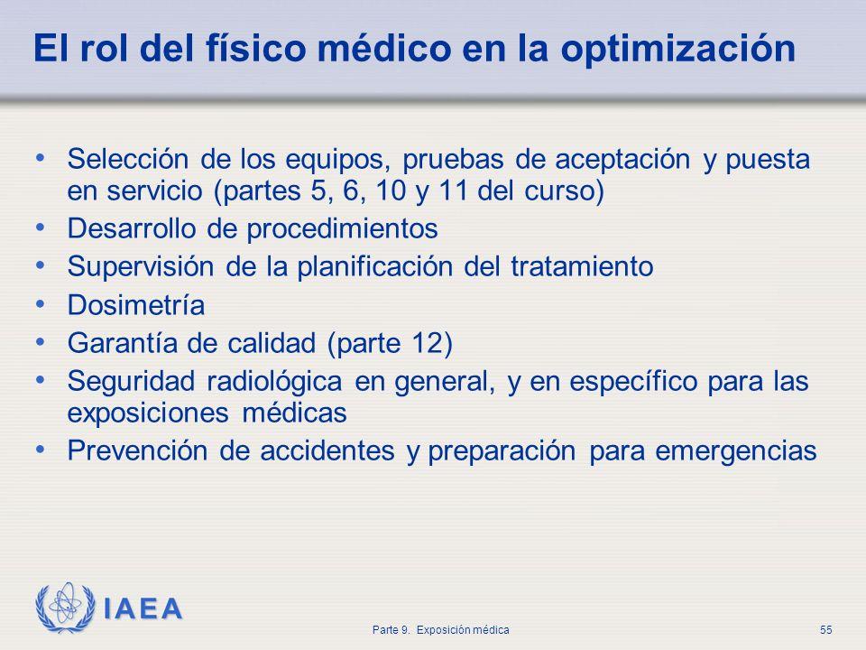 IAEA Parte 9. Exposición médica55 El rol del físico médico en la optimización Selección de los equipos, pruebas de aceptación y puesta en servicio (pa