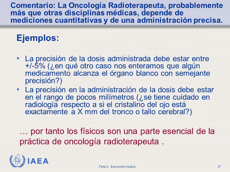 IAEA Parte 9. Exposición médica57 Comentario: La Oncología Radioterapeuta, probablemente más que otras disciplinas médicas, depende de mediciones cuan