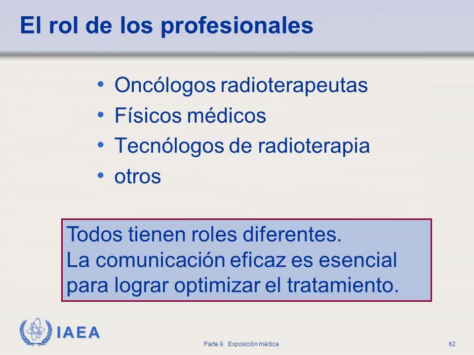 IAEA Parte 9. Exposición médica62 El rol de los profesionales Oncólogos radioterapeutas Físicos médicos Tecnólogos de radioterapia otros Todos tienen