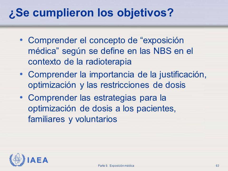 IAEA Parte 9. Exposición médica63 ¿Se cumplieron los objetivos? Comprender el concepto de exposición médica según se define en las NBS en el contexto