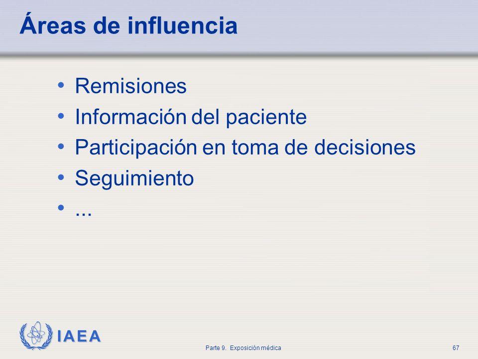 IAEA Parte 9. Exposición médica67 Áreas de influencia Remisiones Información del paciente Participación en toma de decisiones Seguimiento...