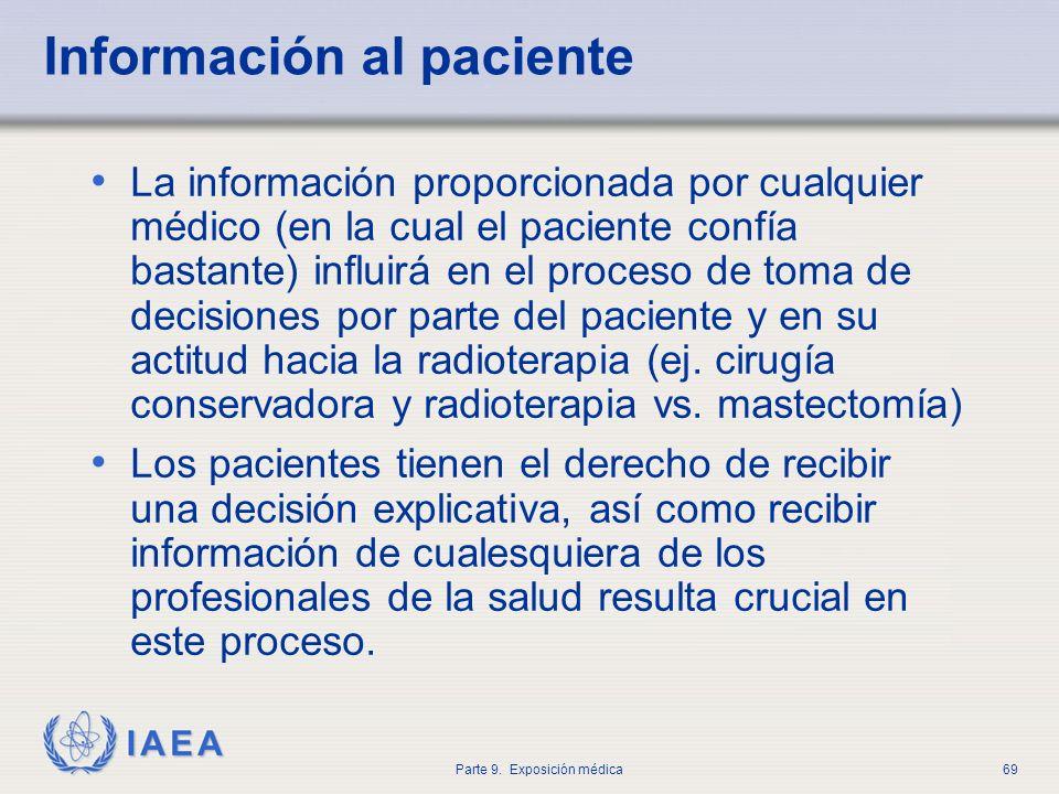 IAEA Parte 9. Exposición médica69 Información al paciente La información proporcionada por cualquier médico (en la cual el paciente confía bastante) i