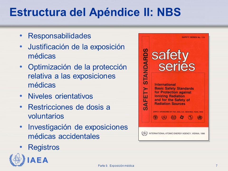 IAEA Parte 9. Exposición médica7 Estructura del Apéndice II: NBS Responsabilidades Justificación de la exposición médicas Optimización de la protecció