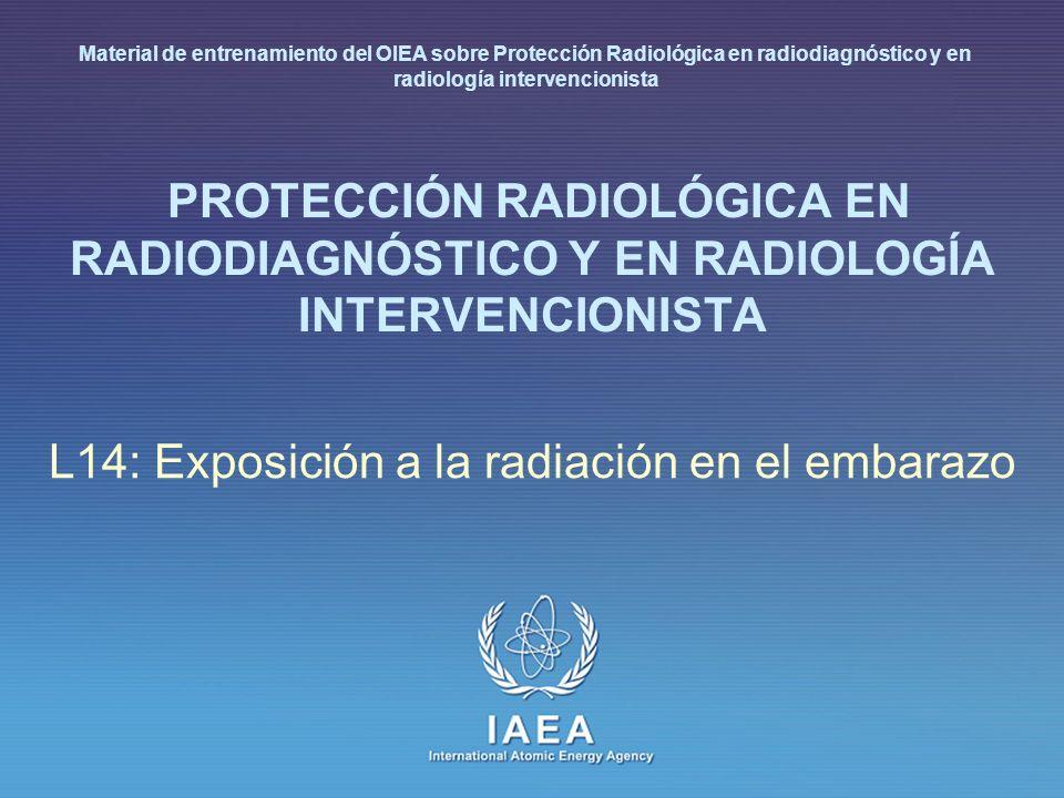 IAEA 14: Exposición a la radiación en el embarazo 22 Riesgo fetal a la radiación Hay riesgos referidos a la radiación a lo largo del embarazo, relacionados con la etapa de gestación y la dosis absorbida Los riesgos son más importantes durante la organogénesis y en el periodo fetal temprano, algo menos en el 2º trimestre y menos en el 3º trimestre Menor Mínimo Mayor riesgo