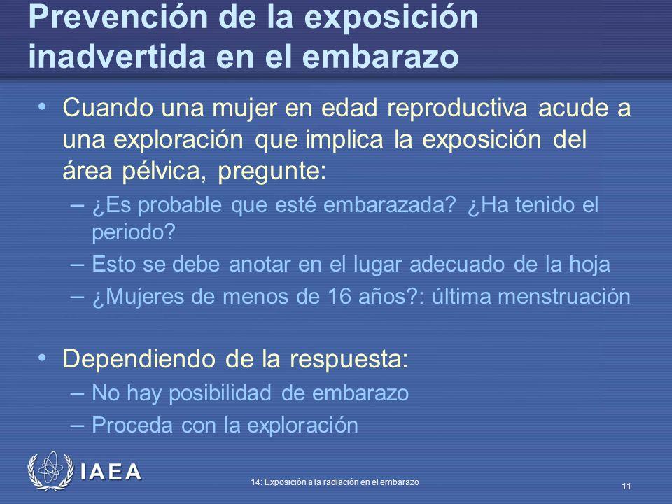 IAEA 14: Exposición a la radiación en el embarazo 11 Prevención de la exposición inadvertida en el embarazo Cuando una mujer en edad reproductiva acud