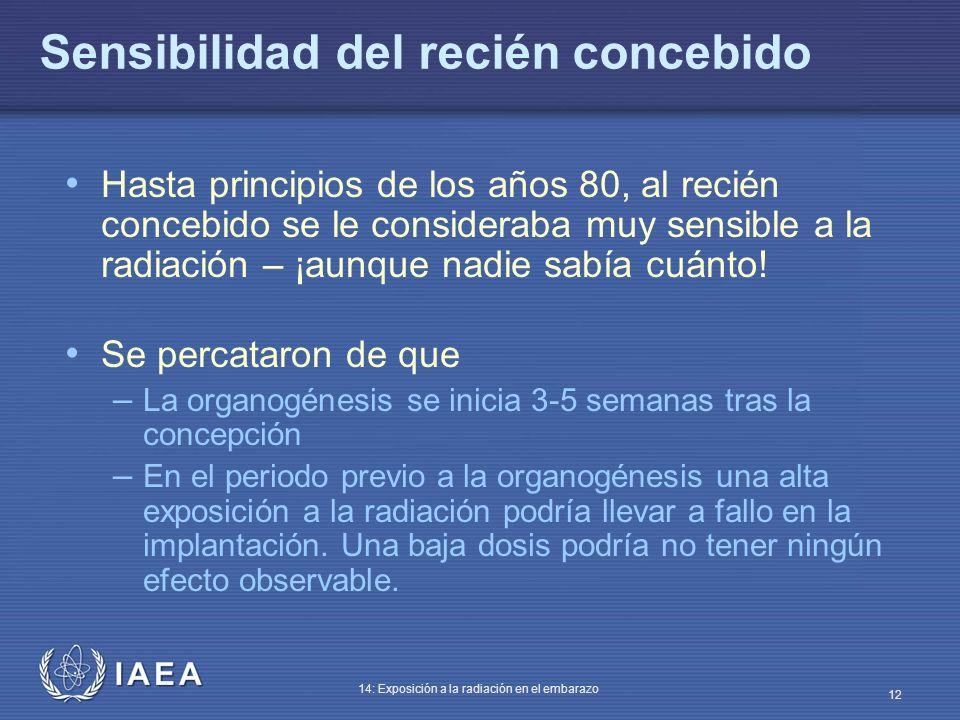 IAEA 14: Exposición a la radiación en el embarazo 12 Sensibilidad del recién concebido Hasta principios de los años 80, al recién concebido se le cons