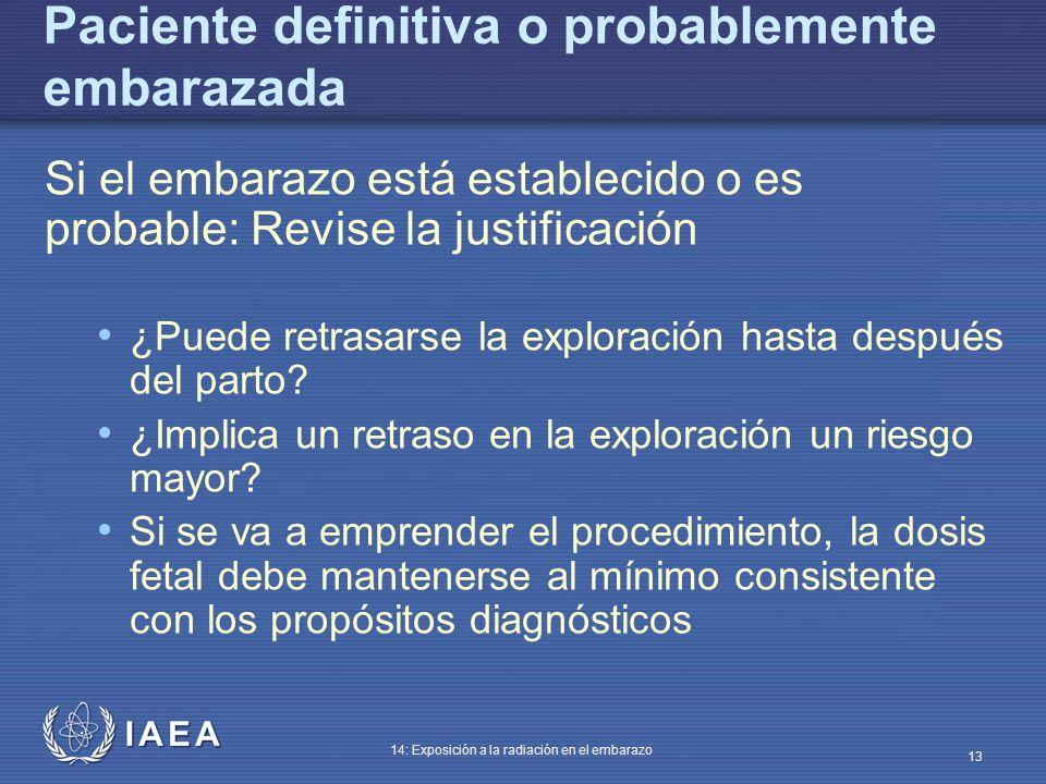 IAEA 14: Exposición a la radiación en el embarazo 13 Paciente definitiva o probablemente embarazada Si el embarazo está establecido o es probable: Rev