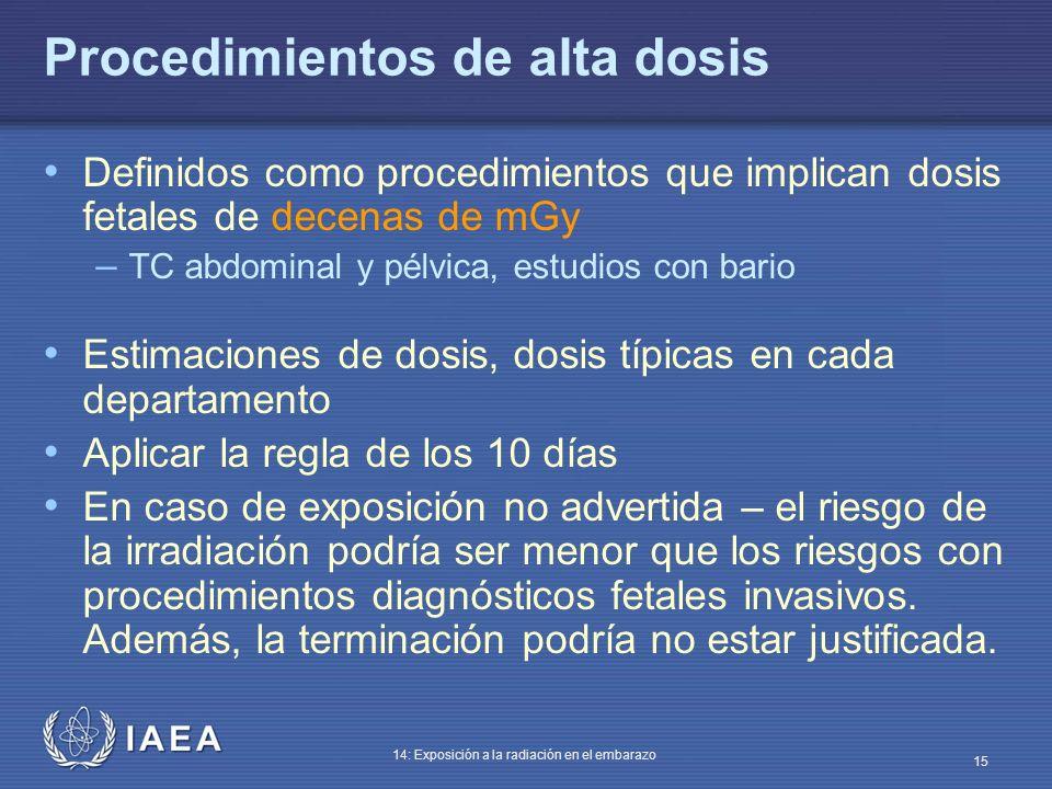 IAEA 14: Exposición a la radiación en el embarazo 15 Procedimientos de alta dosis Definidos como procedimientos que implican dosis fetales de decenas