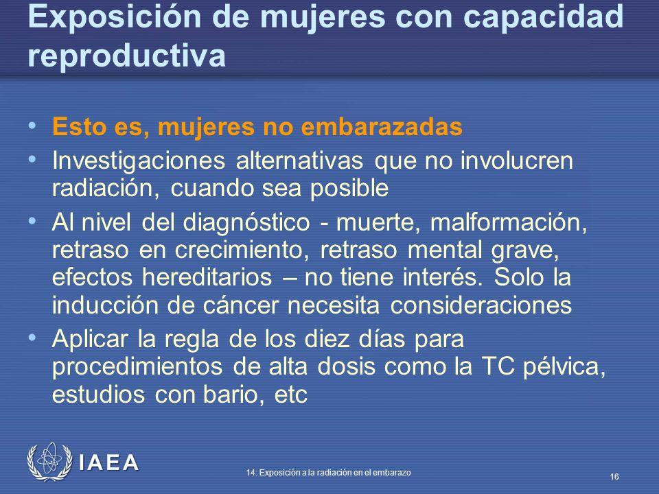 IAEA 14: Exposición a la radiación en el embarazo 16 Exposición de mujeres con capacidad reproductiva Esto es, mujeres no embarazadas Investigaciones