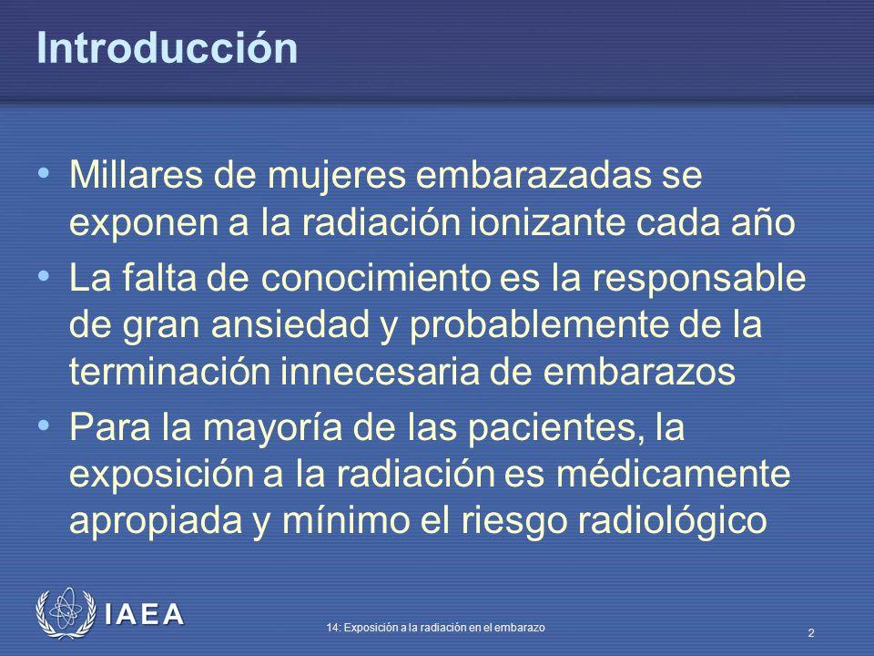 IAEA 14: Exposición a la radiación en el embarazo 33 Terminación del embarazo La terminación del embarazo a dosis fetales de menos de 100 mGy no está justificada sobre la base del riesgo radiológico A dosis fetales por encima de 100 mGy, puede haber daño fetal, cuya magnitud y tipo es función de la dosis y de la etapa de gestación En estos casos las decisiones deberían basarse en circunstancias individuales