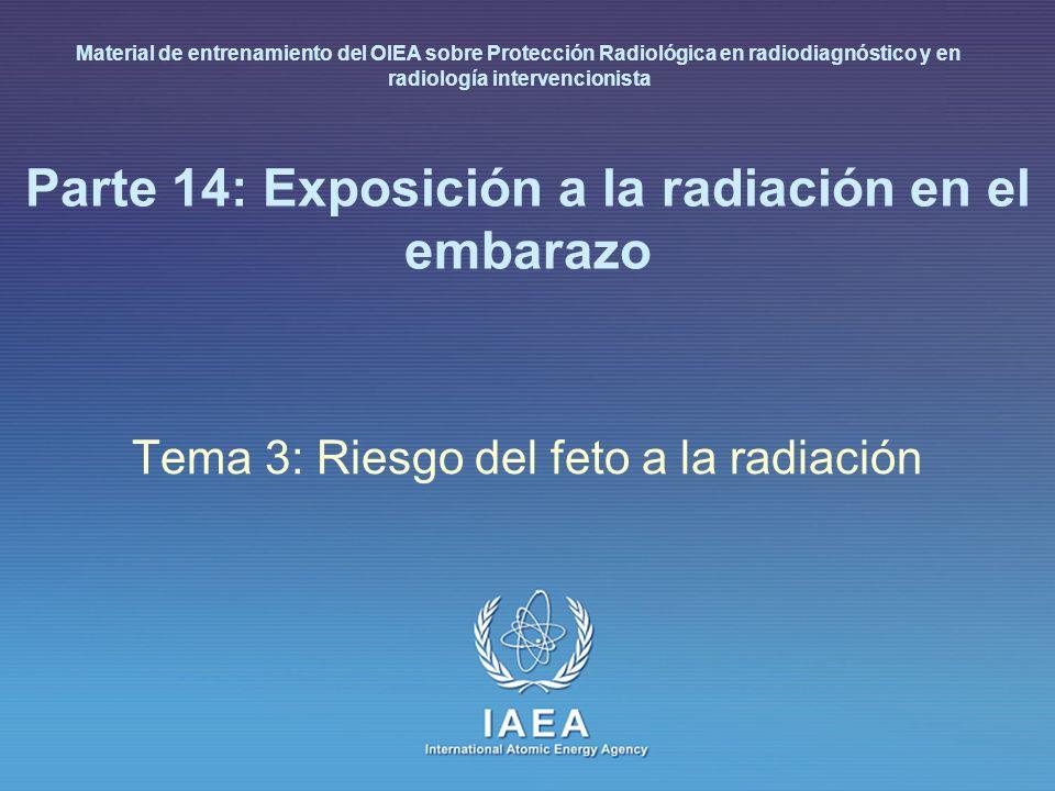 IAEA International Atomic Energy Agency Parte 14: Exposición a la radiación en el embarazo Tema 3: Riesgo del feto a la radiación Material de entrenam