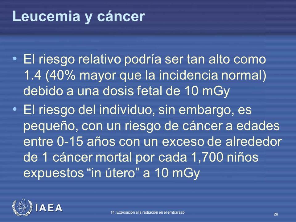 IAEA 14: Exposición a la radiación en el embarazo 28 Leucemia y cáncer El riesgo relativo podría ser tan alto como 1.4 (40% mayor que la incidencia no