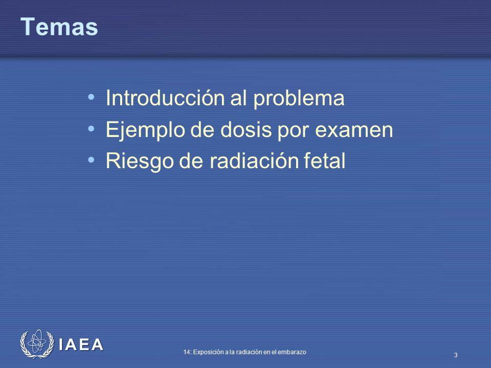 IAEA 14: Exposición a la radiación en el embarazo 24 Efectos sobre el sistema nervioso central Durante 8-25 semanas tras la concepción el SNC es particularmente sensible a la radiación Dosis fetales por encima de 100 mGy pueden producir cierta reducción del IQ (cociente de inteligencia) Las dosis fetales en el rango de 1000 mGy (1 Gy) pueden producir retraso mental grave, particularmente durante las semanas 8-15 y menos desde las 16-25