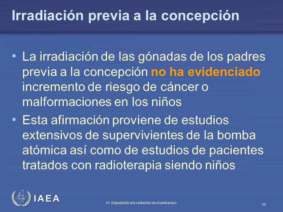 IAEA 14: Exposición a la radiación en el embarazo 30 Irradiación previa a la concepción La irradiación de las gónadas de los padres previa a la concep