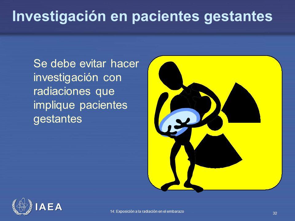 IAEA 14: Exposición a la radiación en el embarazo 32 Investigación en pacientes gestantes Se debe evitar hacer investigación con radiaciones que impli